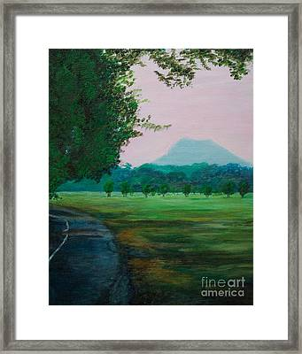 Pinnacle Mountain At Sunset From Two Rivers Park Framed Print by Amber Woodrum