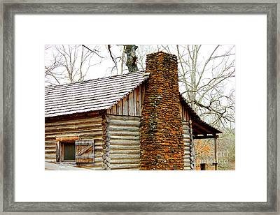 Pioneer Log Cabin Chimney Framed Print by Kathy  White