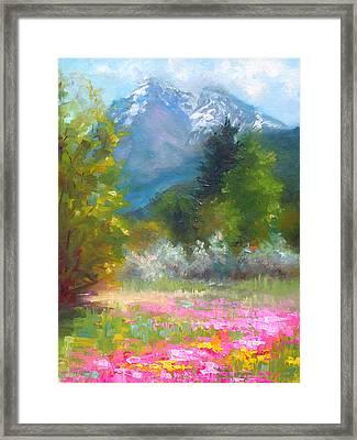 Pioneer Peaking - Flowers And Mountain In Alaska Framed Print by Talya Johnson