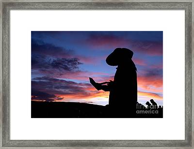Pioneer Silhouette Reading Letter Framed Print by Cindy Singleton