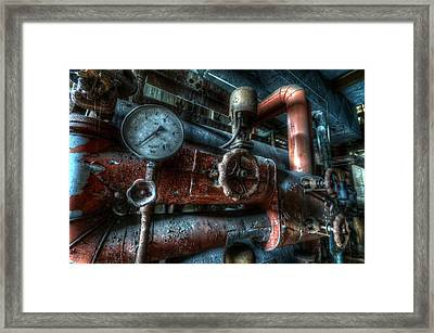 Pipes And Clocks Framed Print by Nathan Wright