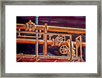 Pipes And Wheels Framed Print by Noel Zia Lee