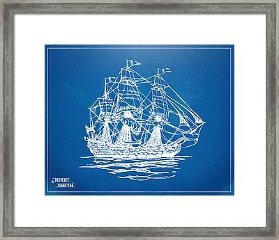 Pirate Ship Blueprint Artwork Framed Print by Nikki Marie Smith