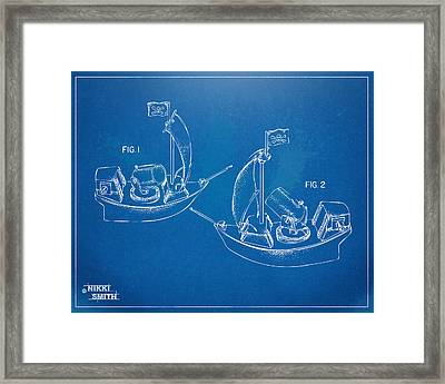 Pirate Ship Patent - Blueprint Framed Print by Nikki Marie Smith