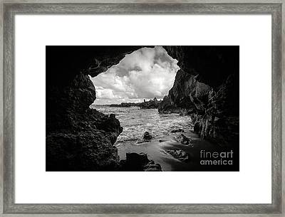 Pirate Treasure Cave Pa'iloa Beach Framed Print by Edward Fielding