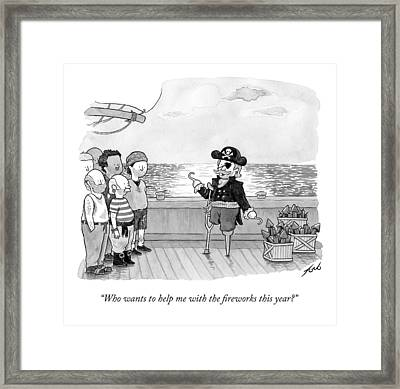 Pirate With One Hand Asks For Help Lighting Framed Print by Tom Toro