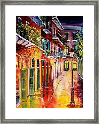 Pirates Alley By Night Framed Print by Diane Millsap