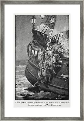 Pirates Boarding A Ship Framed Print by British Library