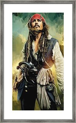 Pirates Of The Caribbean Johnny Depp Artwork 1 Framed Print by Sheraz A
