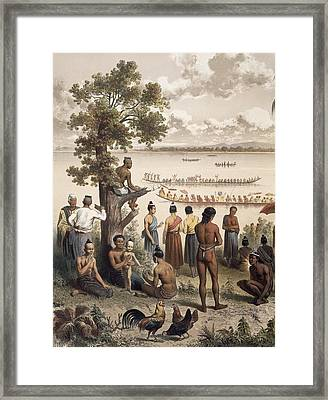 Pirogue Races On The Bassac River Framed Print by Louis Delaporte