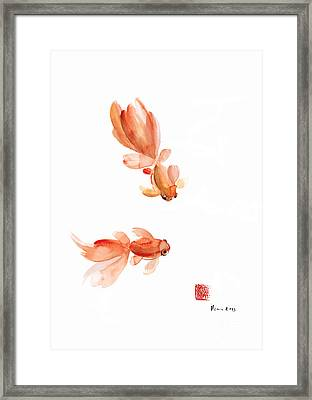 Pisces Zodiac Fishes Orange Red  Pink Fish Water Goldfish Watercolor Painting Framed Print by Johana Szmerdt
