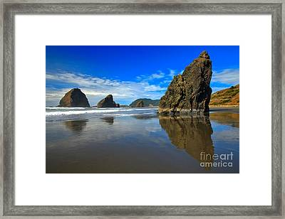Pistol River Sea Stacks Framed Print by Adam Jewell