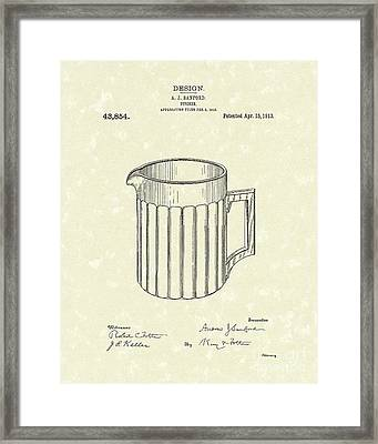 Pitcher 1913 Patent Art Framed Print by Prior Art Design