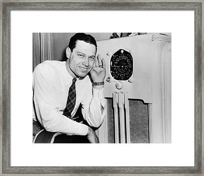 Pitcher Listens For News Framed Print by Underwood Archives