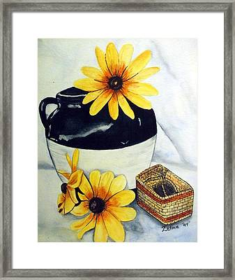 Pitcher With Yellow Flowers Framed Print by Zelma Hensel