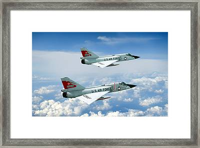 Pitching Darts F-106 2-ship Framed Print by Peter Chilelli