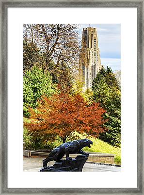 Pitt Panther And Cathedral Of Learning Framed Print by Thomas R Fletcher