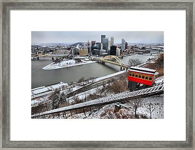 Pittsburgh Duquesne Incline Winter Framed Print by Adam Jewell