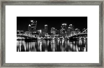 Pittsburgh Black And White Panorama Framed Print by Frozen in Time Fine Art Photography