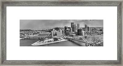 Pittsburgh Black And White Winter Panorama Framed Print by Adam Jewell