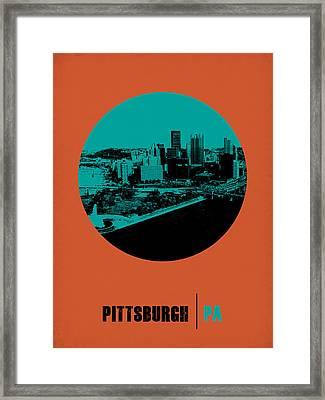 Pittsburgh Circle Poster 1 Framed Print by Naxart Studio