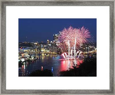 Pittsburgh Fireworks Framed Print by Cityscape Photography