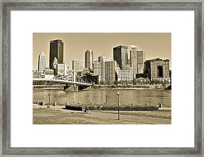 Pittsburgh In Sepia Framed Print by Frozen in Time Fine Art Photography