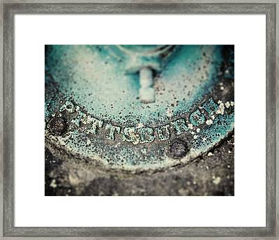 Pittsburgh In Teal Relief On A Vintage Water Pump Framed Print by Lisa Russo