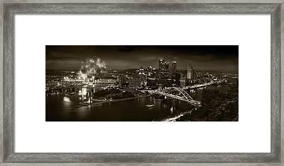 Pittsburgh P A  B W Framed Print by Steve Gadomski