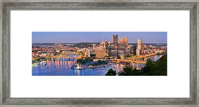 Pittsburgh Pennsylvania Skyline At Dusk Sunset Panorama Framed Print by Jon Holiday