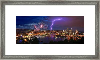 Pittsburgh Pennsylvania Skyline Fireworks At Night Panorama Framed Print by Jon Holiday