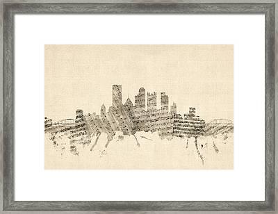 Pittsburgh Pennsylvania Skyline Sheet Music Cityscape Framed Print by Michael Tompsett