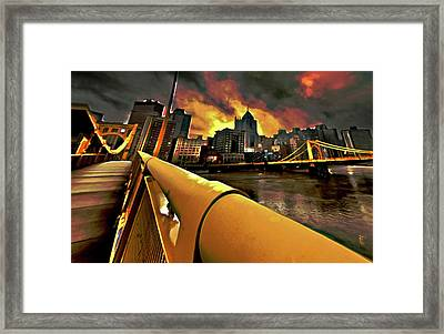 Pittsburgh Skyline Framed Print by  Fli Art