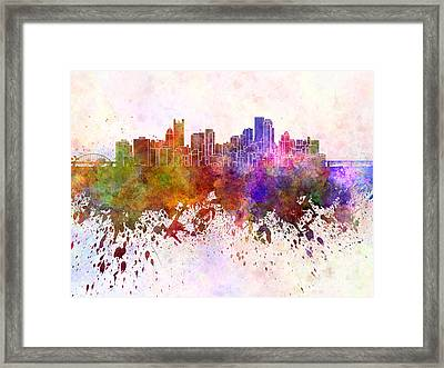 Pittsburgh Skyline In Watercolor Background Framed Print by Pablo Romero