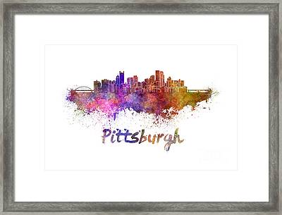 Pittsburgh Skyline In Watercolor Framed Print by Pablo Romero