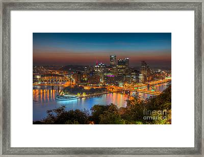 Pittsburgh Skyline Morning Twilight I Framed Print by Clarence Holmes