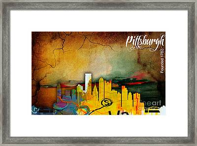 Pittsburgh Skyline Watercolor Framed Print by Marvin Blaine