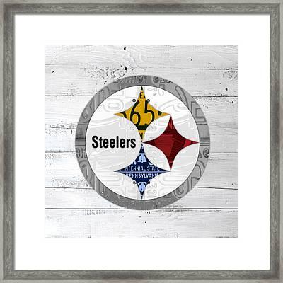 Pittsburgh Steelers Football Team Retro Logo Pennsylvania License Plate Art Framed Print by Design Turnpike