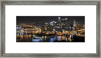 Pittsburgh Three Rivers Panorama Framed Print by Frozen in Time Fine Art Photography