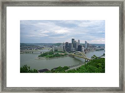 Pittsburgh - View Of The Three Rivers Framed Print by Frank Romeo