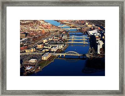 Pittsburgh's North Shore Aerial Framed Print by Mattucci Photography