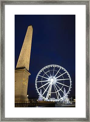 Place De La Concorde And The Ferris Wheel At Christmas Time Framed Print by Sami Sarkis