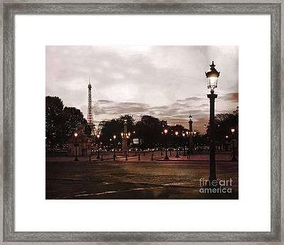 Paris Place De La Concorde Sepia Art - Paris Eiffel Tower View Place De La Concorde Street Lamps  Framed Print by Kathy Fornal