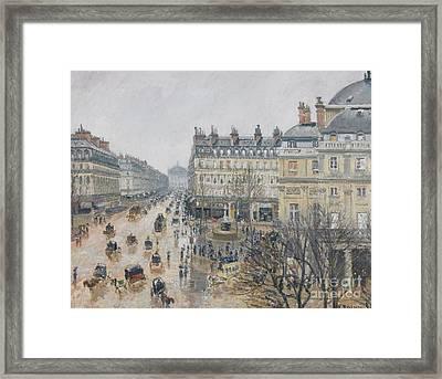 Place Du Theatre Francais    Paris  Rain Framed Print by Camille Pissarro