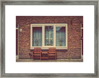 Place Just For Two. Pink Spring In Amsterdam Framed Print by Jenny Rainbow