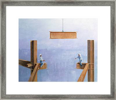 Placing The Last Link Framed Print by Lincoln Seligman