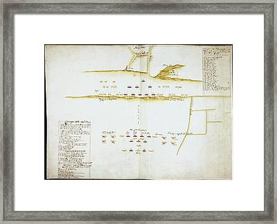 Plan Of Battle Of Naseby Framed Print by British Library