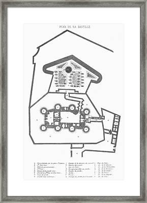 Plan Of The Bastille Framed Print by Granger