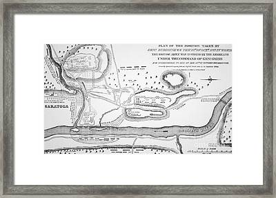 Plan Of The Battle Of Saratoga October 1777 Framed Print by American School