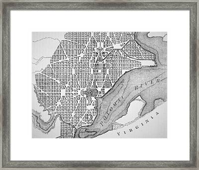 Plan Of The City Of Washington As Originally Laid Out In 1793 Framed Print by American School